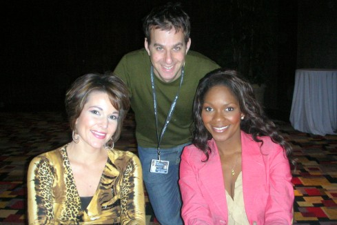 Justin with Heather French, Miss America 2000 and Ericka Dunlap, Miss America 2004 at the Miss America Pageant 2009